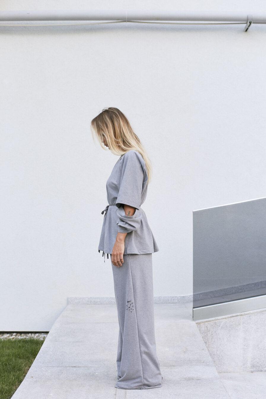 Cotton wide-leg grey sporty pants